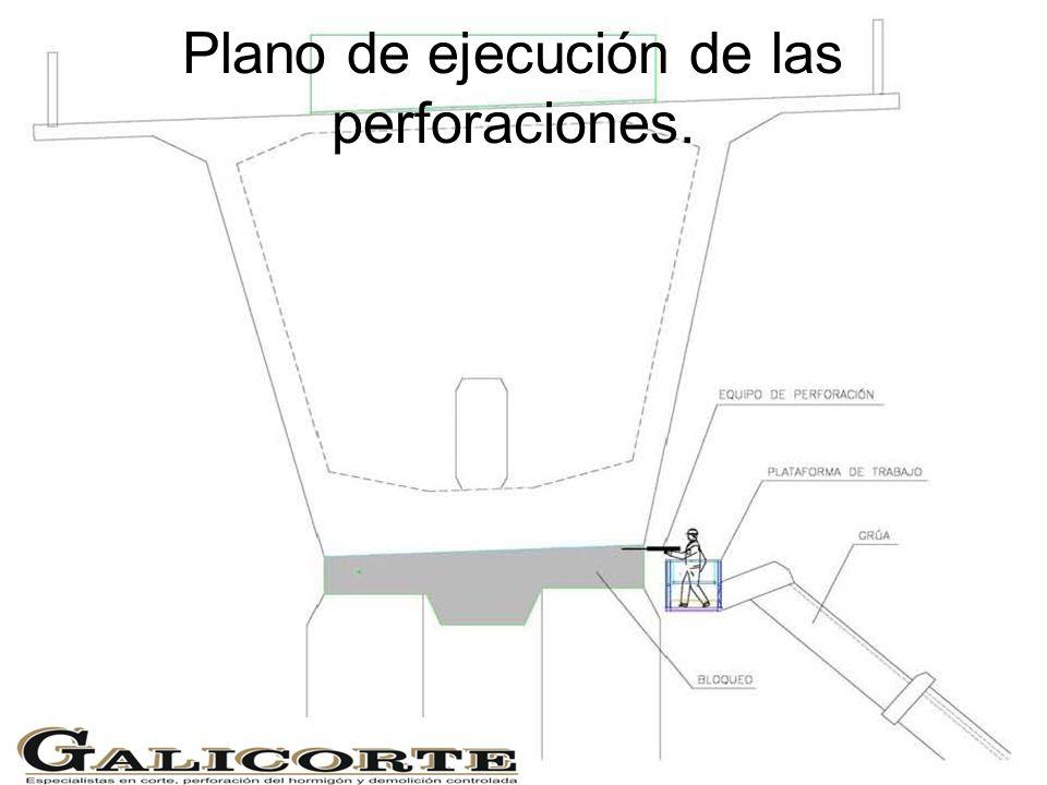 Plano de ejecución de las perforaciones.