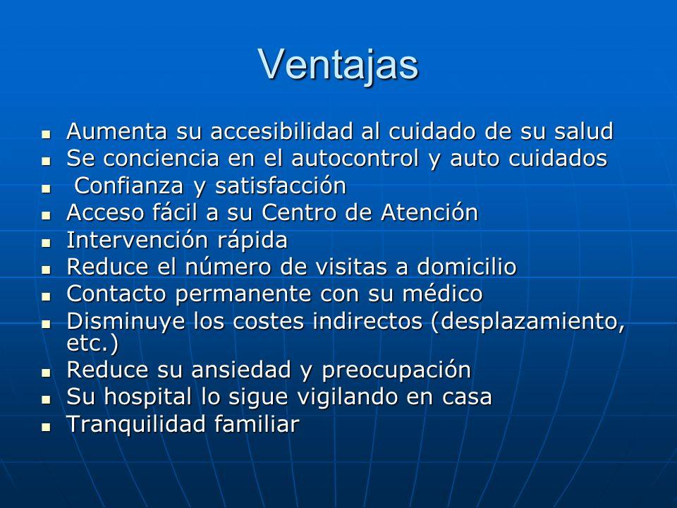 Ventajas Aumenta su accesibilidad al cuidado de su salud Aumenta su accesibilidad al cuidado de su salud Se conciencia en el autocontrol y auto cuidad