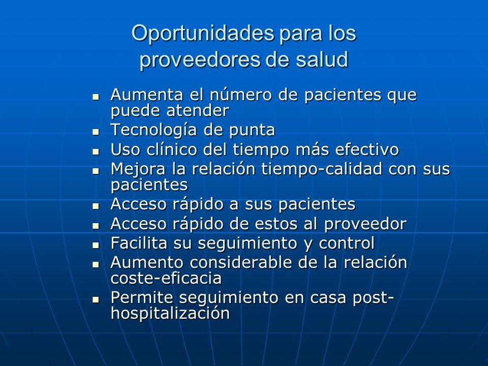 Oportunidades para los proveedores de salud Aumenta el número de pacientes que puede atender Aumenta el número de pacientes que puede atender Tecnolog