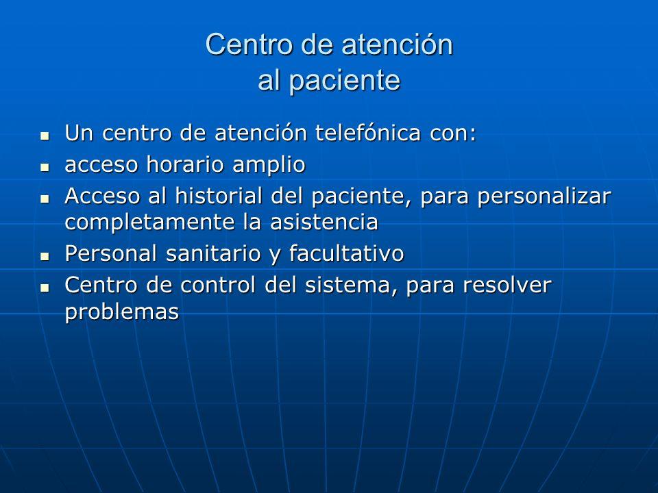 Centro de atención al paciente Un centro de atención telefónica con: Un centro de atención telefónica con: acceso horario amplio acceso horario amplio