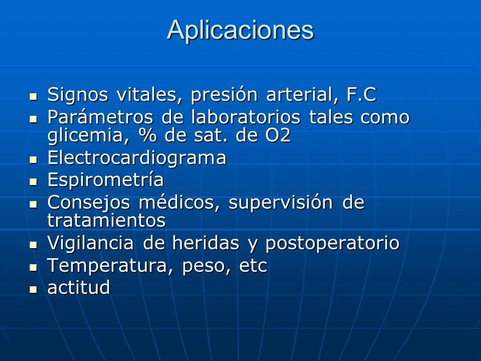 Aplicaciones Signos vitales, presión arterial, F.C Signos vitales, presión arterial, F.C Parámetros de laboratorios tales como glicemia, % de sat. de