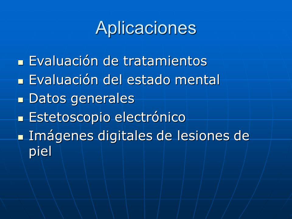 Aplicaciones Evaluación de tratamientos Evaluación de tratamientos Evaluación del estado mental Evaluación del estado mental Datos generales Datos gen