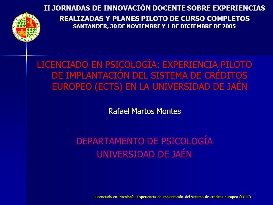 Licenciado en Psicología: Experiencia de implantación del sistema de créditos europeo (ECTS) II JORNADAS DE INNOVACIÓN DOCENTE SOBRE EXPERIENCIAS REALIZADAS Y PLANES PILOTO DE CURSO COMPLETOS SANTANDER, 30 DE NOVIEMBRE Y 1 DE DICIEMBRE DE 2005 B.EXPERIENCIA PILOTO EN LA TITULACIÓN DE PSICOLOGÍA DE LA UNIVERSIDAD DE JAÉN CRITERIOS PARA LA ADSCRIPCIÓN DE CRÉDITOS ECTS A LA EXPERIENCIA 1.Créditos E.C.T.S.: 30% de los créditos LRU de cada asignatura 2.Transformación lineal de créditos LRU en créditos ECTS CRÉDITOS L.R.U.