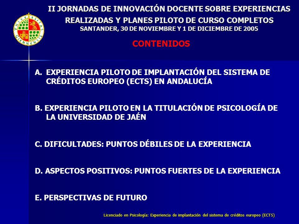 Licenciado en Psicología: Experiencia de implantación del sistema de créditos europeo (ECTS) II JORNADAS DE INNOVACIÓN DOCENTE SOBRE EXPERIENCIAS REALIZADAS Y PLANES PILOTO DE CURSO COMPLETOS SANTANDER, 30 DE NOVIEMBRE Y 1 DE DICIEMBRE DE 2005 B.EXPERIENCIA PILOTO EN LA TITULACIÓN DE PSICOLOGÍA DE LA UNIVERSIDAD DE JAÉN PROMEDIO DE HORAS SEMANALES DE TRABAJO POR ASIGNATURA ESTIMADAS POR LOS ALUMNOS VERSUS ESTIMADAS POR EL PROFESORADO 7.- Resultados parciales (primer cuatrimestre)