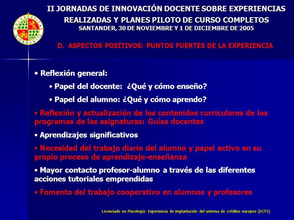 Licenciado en Psicología: Experiencia de implantación del sistema de créditos europeo (ECTS) II JORNADAS DE INNOVACIÓN DOCENTE SOBRE EXPERIENCIAS REALIZADAS Y PLANES PILOTO DE CURSO COMPLETOS SANTANDER, 30 DE NOVIEMBRE Y 1 DE DICIEMBRE DE 2005 D.ASPECTOS POSITIVOS: PUNTOS FUERTES DE LA EXPERIENCIA Reflexión general: Papel del docente: ¿Qué y cómo enseño.