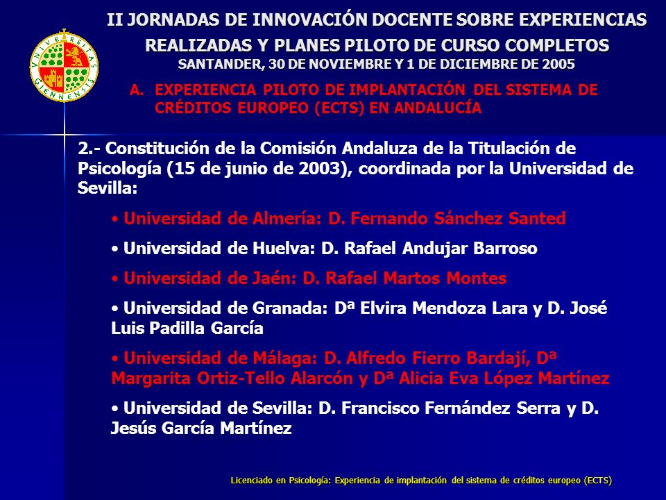 Licenciado en Psicología: Experiencia de implantación del sistema de créditos europeo (ECTS) II JORNADAS DE INNOVACIÓN DOCENTE SOBRE EXPERIENCIAS REALIZADAS Y PLANES PILOTO DE CURSO COMPLETOS SANTANDER, 30 DE NOVIEMBRE Y 1 DE DICIEMBRE DE 2005 B.EXPERIENCIA PILOTO EN LA TITULACIÓN DE PSICOLOGÍA DE LA UNIVERSIDAD DE JAÉN ASIGNATURA MOMENTO C.