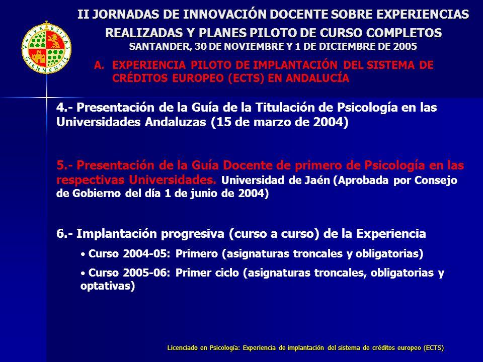 Licenciado en Psicología: Experiencia de implantación del sistema de créditos europeo (ECTS) 4.- Presentación de la Guía de la Titulación de Psicología en las Universidades Andaluzas (15 de marzo de 2004) 5.- Presentación de la Guía Docente de primero de Psicología en las respectivas Universidades.