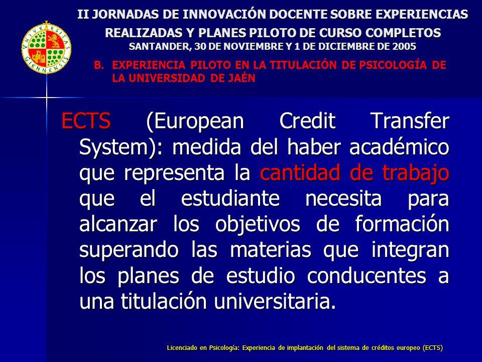 Licenciado en Psicología: Experiencia de implantación del sistema de créditos europeo (ECTS) II JORNADAS DE INNOVACIÓN DOCENTE SOBRE EXPERIENCIAS REALIZADAS Y PLANES PILOTO DE CURSO COMPLETOS SANTANDER, 30 DE NOVIEMBRE Y 1 DE DICIEMBRE DE 2005 B.EXPERIENCIA PILOTO EN LA TITULACIÓN DE PSICOLOGÍA DE LA UNIVERSIDAD DE JAÉN 5.- Funciones de los Becarios/colaboradores A.Edición de la Guía Docente B.Revisión y actualización de fondos bibliográficos C.Colaboración en la elaboración y análisis de encuestas de seguimiento D.Preparación de cuestionarios para el seguimiento de la experiencia E.Tratamiento y análisis de los datos de la experiencia F.Asistencia y asesoramiento a alumnado G.Apoyo al profesorado en la preparación de materiales didácticos (clasificación de materiales audiovisuales, elaboración de listados de alumnos, elaboración de cuestionarios de auto-evaluación, etc.)