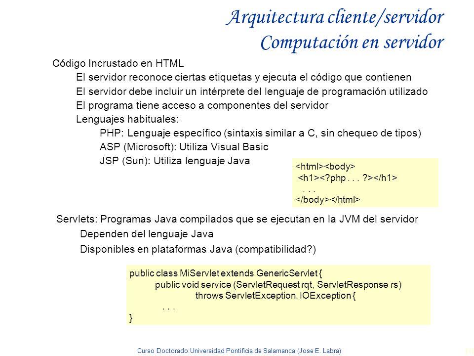 Curso Doctorado:Universidad Pontificia de Salamanca (Jose E. Labra) 10 Arquitectura cliente/servidor Computación en servidor Código Incrustado en HTML