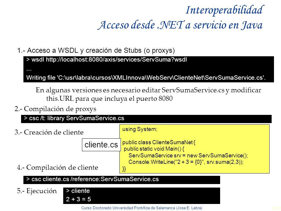 Curso Doctorado:Universidad Pontificia de Salamanca (Jose E. Labra) 100 Interoperabilidad Acceso desde.NET a servicio en Java 1.- Acceso a WSDL y crea