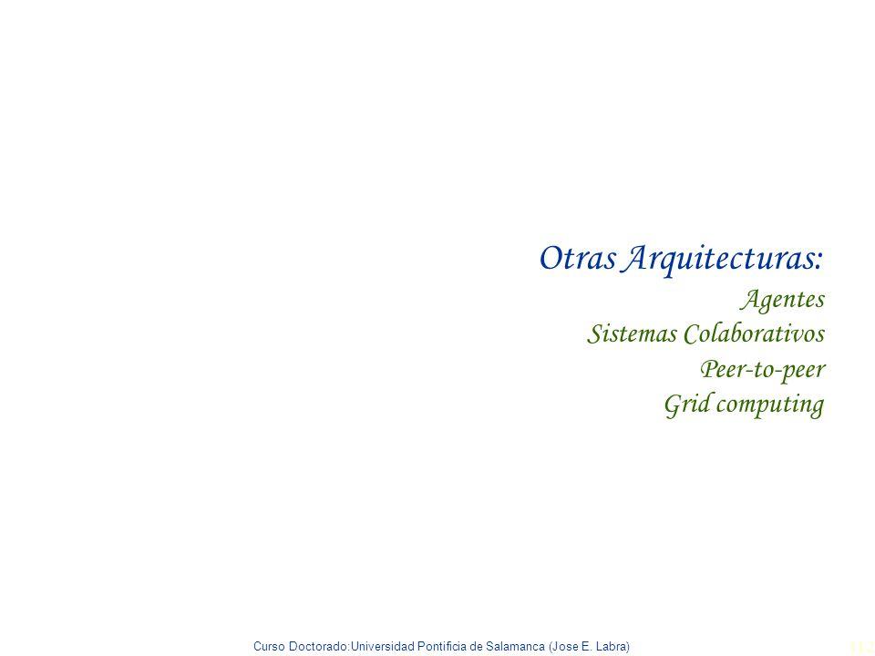 Curso Doctorado:Universidad Pontificia de Salamanca (Jose E. Labra) 112 Otras Arquitecturas: Agentes Sistemas Colaborativos Peer-to-peer Grid computin