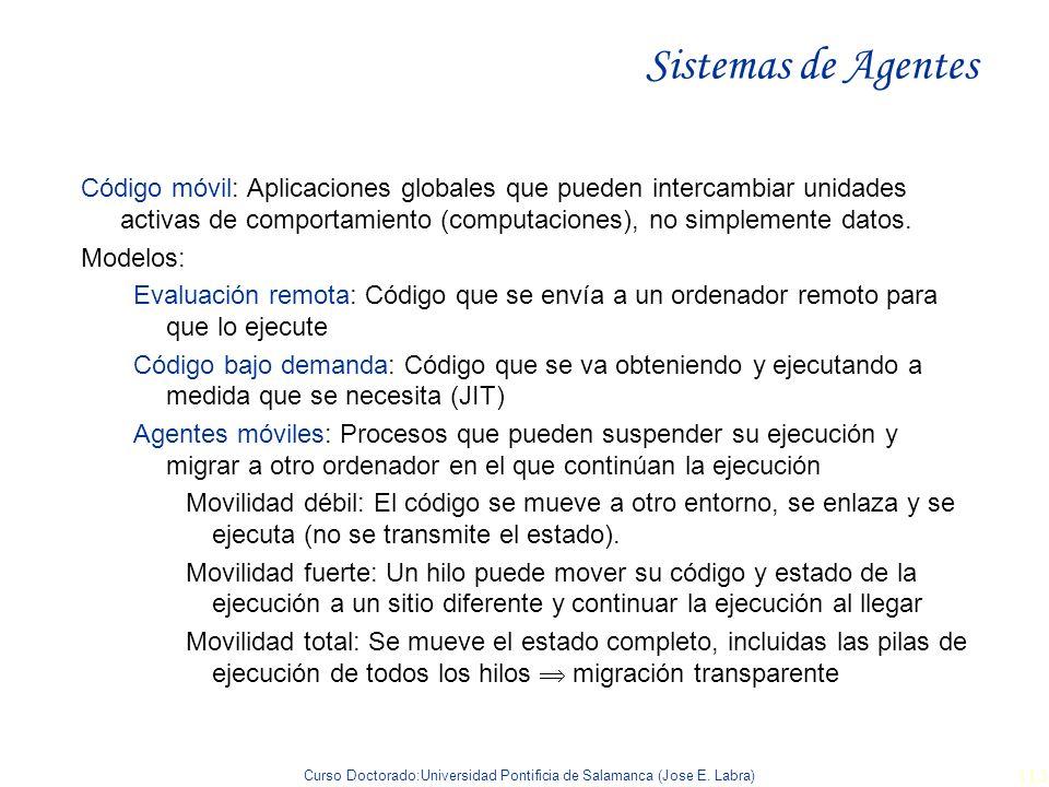 Curso Doctorado:Universidad Pontificia de Salamanca (Jose E. Labra) 113 Sistemas de Agentes Código móvil: Aplicaciones globales que pueden intercambia