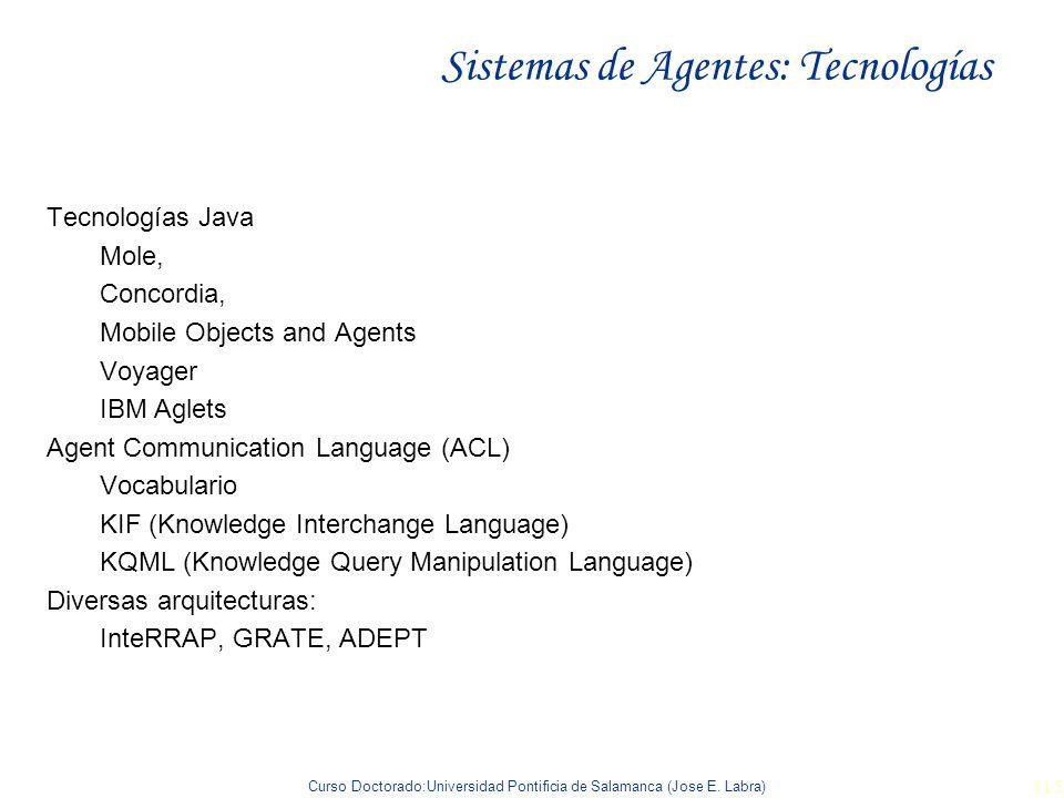 Curso Doctorado:Universidad Pontificia de Salamanca (Jose E. Labra) 115 Sistemas de Agentes: Tecnologías Tecnologías Java Mole, Concordia, Mobile Obje