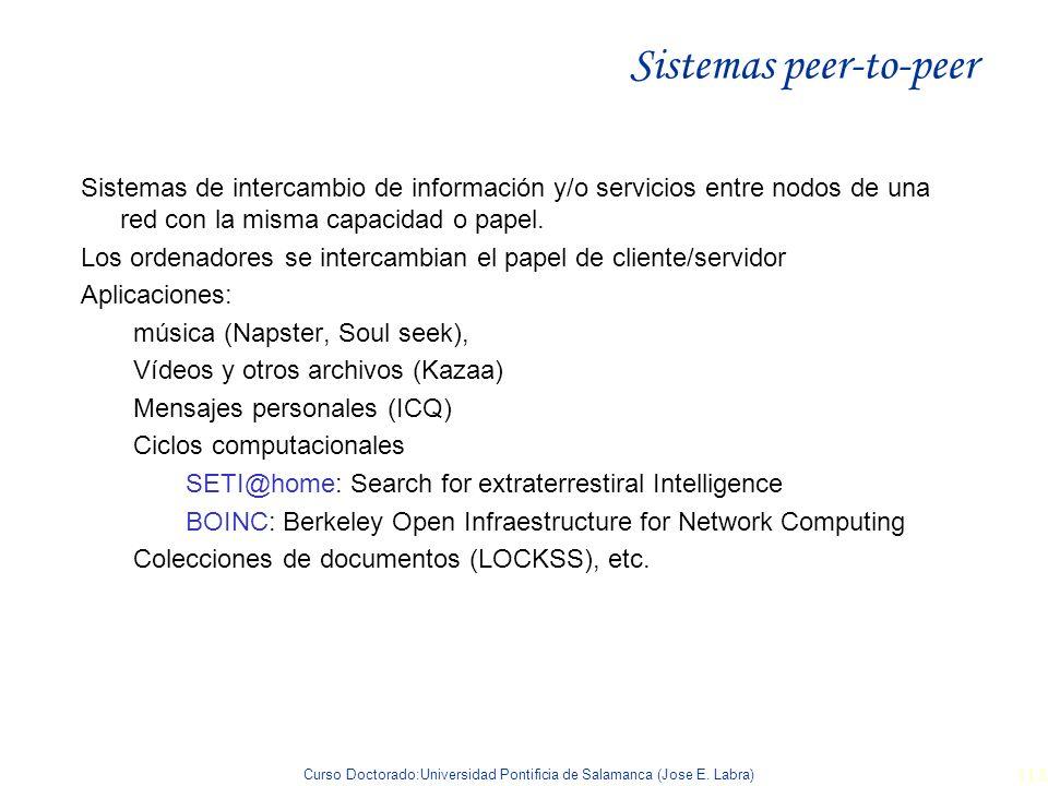 Curso Doctorado:Universidad Pontificia de Salamanca (Jose E. Labra) 118 Sistemas peer-to-peer Sistemas de intercambio de información y/o servicios ent