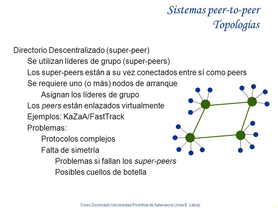 Curso Doctorado:Universidad Pontificia de Salamanca (Jose E. Labra) 120 Sistemas peer-to-peer Topologías Directorio Descentralizado (super-peer) Se ut