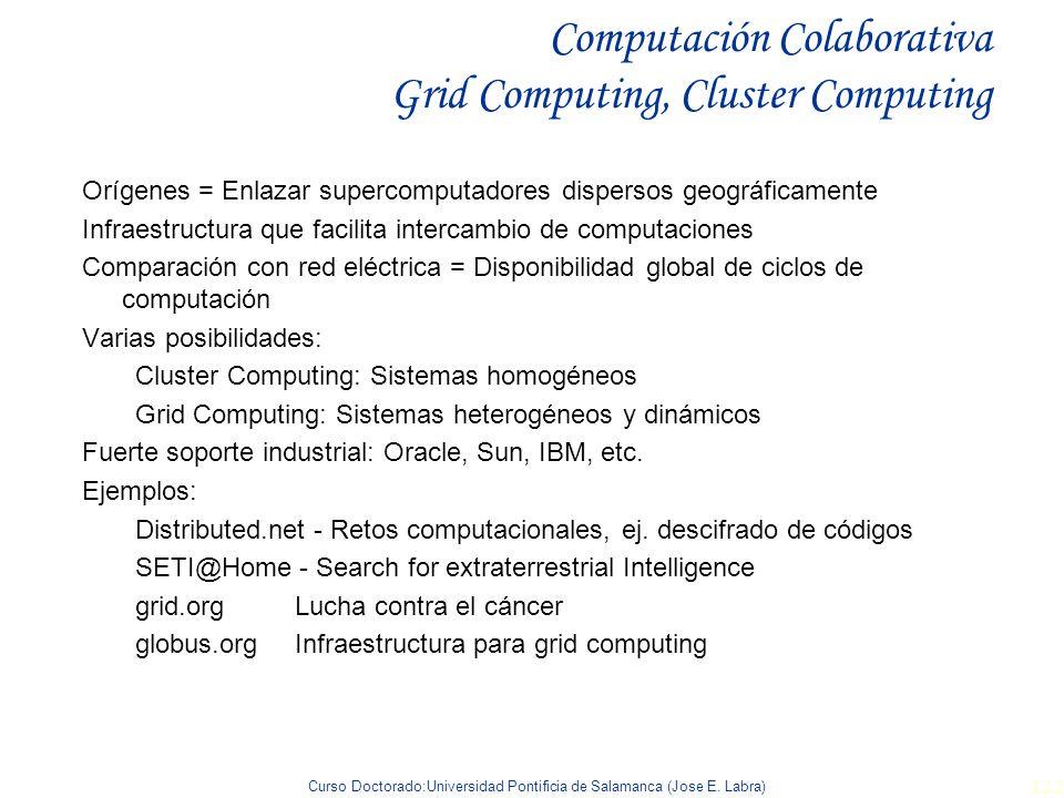 Curso Doctorado:Universidad Pontificia de Salamanca (Jose E. Labra) 122 Computación Colaborativa Grid Computing, Cluster Computing Orígenes = Enlazar