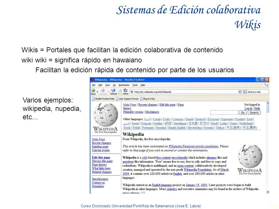 Curso Doctorado:Universidad Pontificia de Salamanca (Jose E. Labra) 123 Sistemas de Edición colaborativa Wikis Wikis = Portales que facilitan la edici