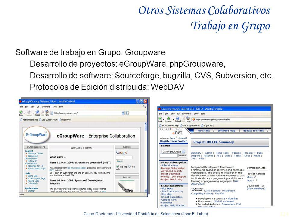 Curso Doctorado:Universidad Pontificia de Salamanca (Jose E. Labra) 124 Otros Sistemas Colaborativos Trabajo en Grupo Software de trabajo en Grupo: Gr