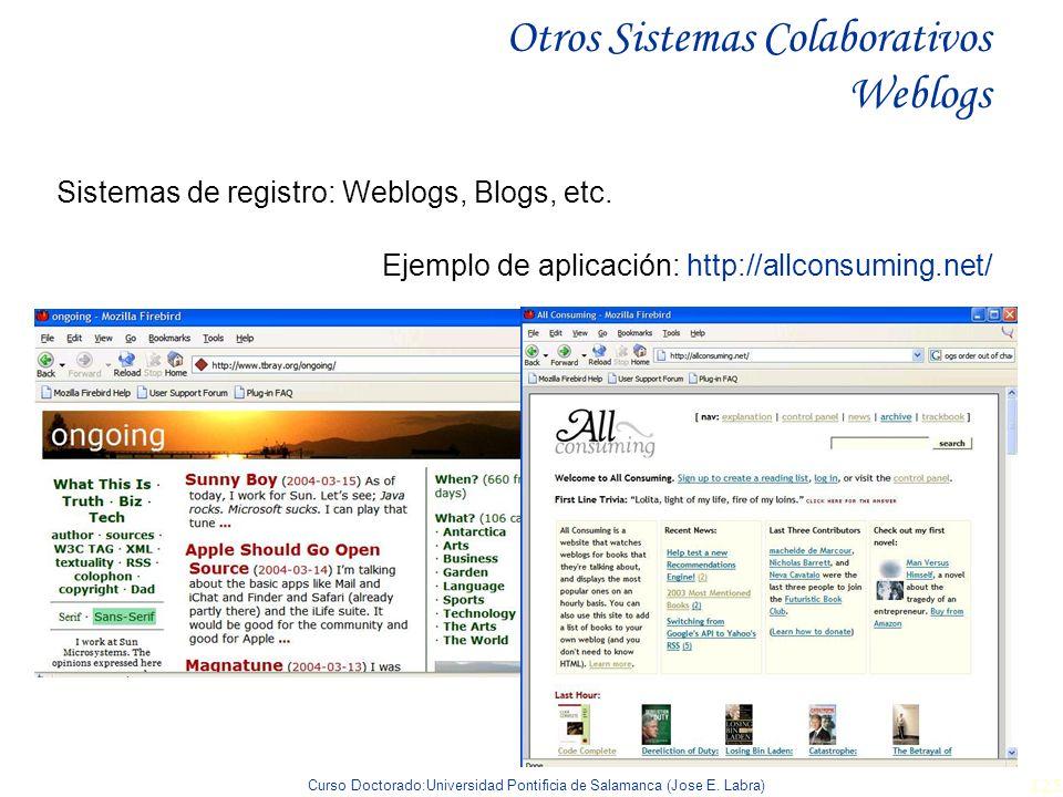 Curso Doctorado:Universidad Pontificia de Salamanca (Jose E. Labra) 125 Otros Sistemas Colaborativos Weblogs Sistemas de registro: Weblogs, Blogs, etc