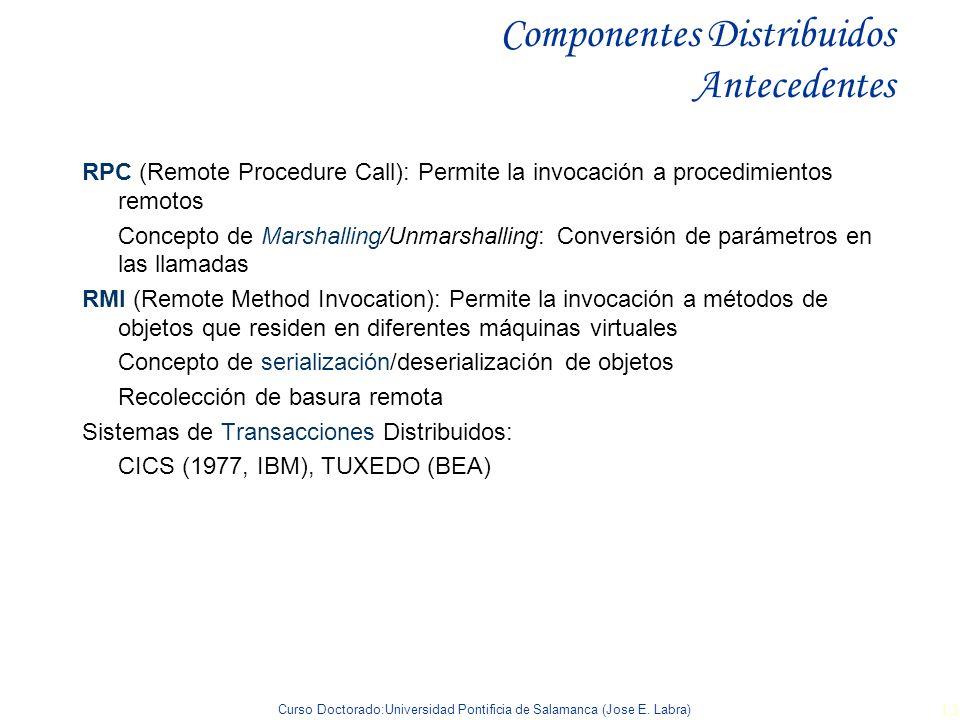 Curso Doctorado:Universidad Pontificia de Salamanca (Jose E. Labra) 13 Componentes Distribuidos Antecedentes RPC (Remote Procedure Call): Permite la i