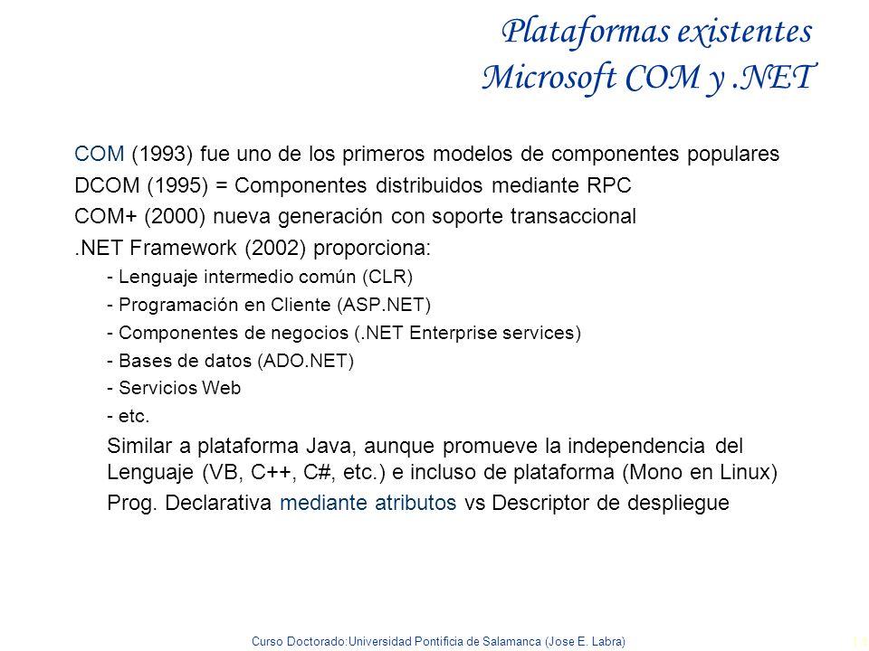 Curso Doctorado:Universidad Pontificia de Salamanca (Jose E. Labra) 14 Plataformas existentes Microsoft COM y.NET COM (1993) fue uno de los primeros m