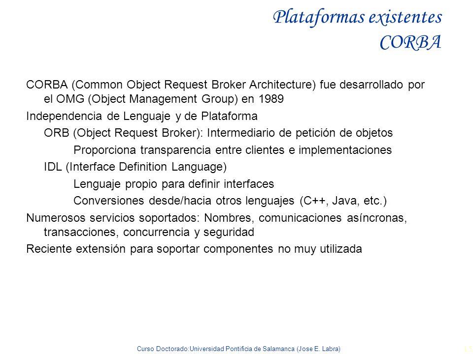 Curso Doctorado:Universidad Pontificia de Salamanca (Jose E. Labra) 15 Plataformas existentes CORBA CORBA (Common Object Request Broker Architecture)