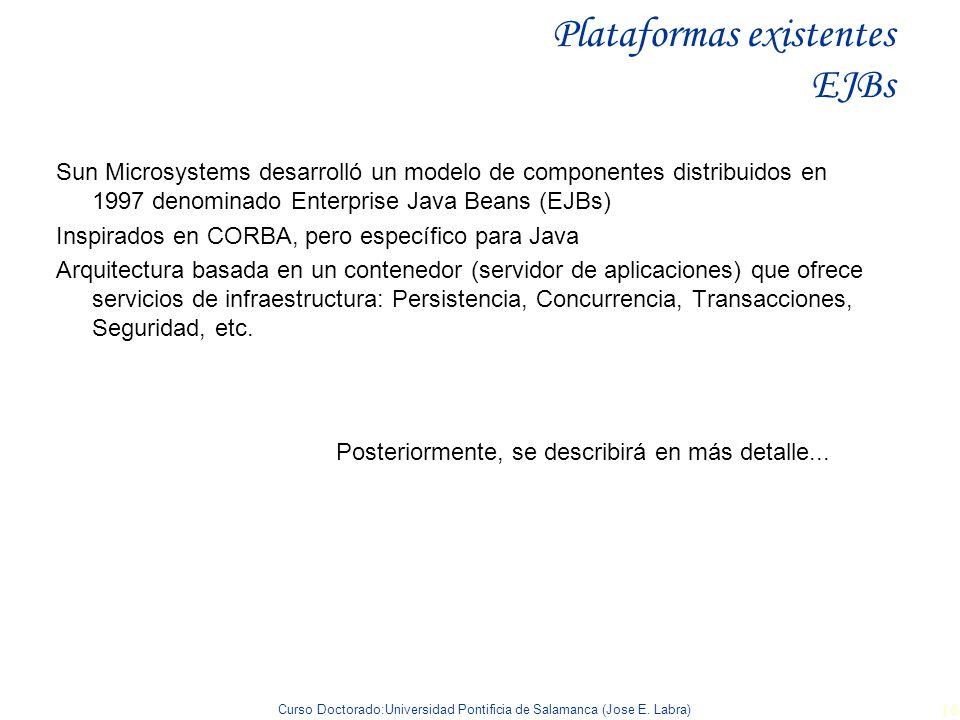 Curso Doctorado:Universidad Pontificia de Salamanca (Jose E. Labra) 16 Plataformas existentes EJBs Sun Microsystems desarrolló un modelo de componente