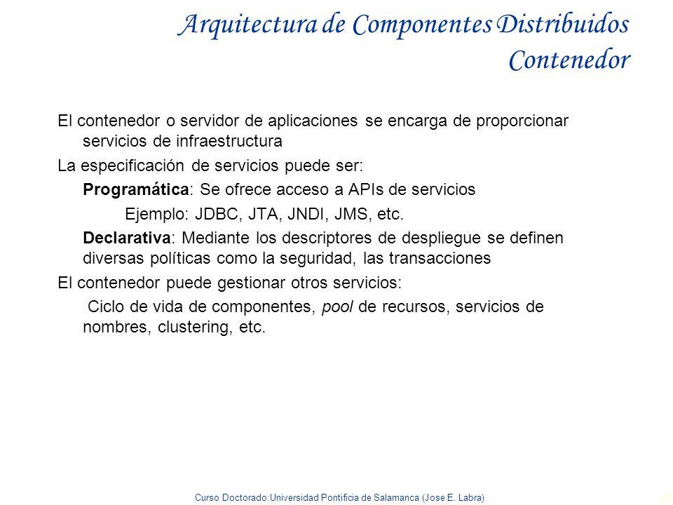 Curso Doctorado:Universidad Pontificia de Salamanca (Jose E. Labra) 17 Arquitectura de Componentes Distribuidos Contenedor El contenedor o servidor de