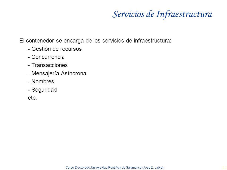 Curso Doctorado:Universidad Pontificia de Salamanca (Jose E. Labra) 22 Servicios de Infraestructura El contenedor se encarga de los servicios de infra