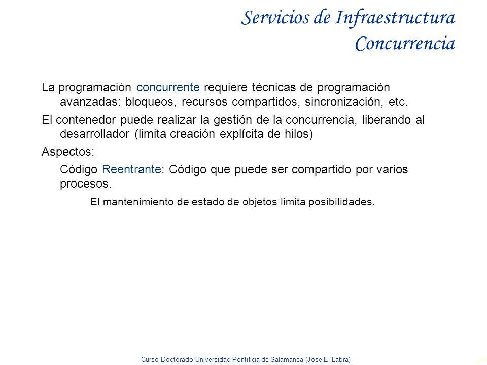 Curso Doctorado:Universidad Pontificia de Salamanca (Jose E. Labra) 24 Servicios de Infraestructura Concurrencia La programación concurrente requiere