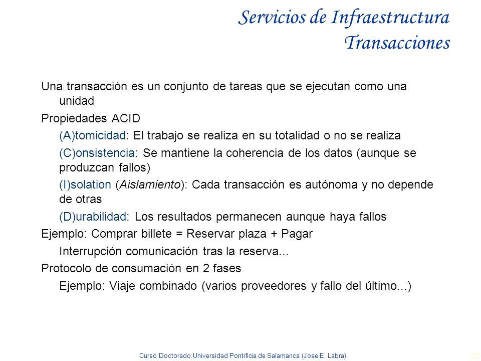 Curso Doctorado:Universidad Pontificia de Salamanca (Jose E. Labra) 25 Servicios de Infraestructura Transacciones Una transacción es un conjunto de ta
