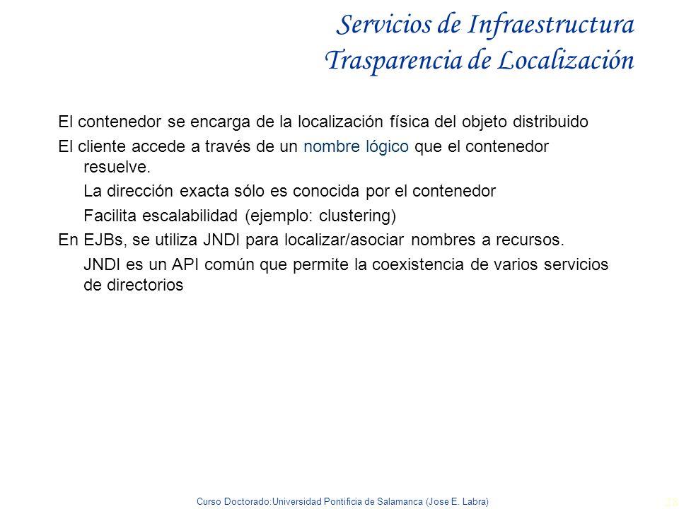 Curso Doctorado:Universidad Pontificia de Salamanca (Jose E. Labra) 28 Servicios de Infraestructura Trasparencia de Localización El contenedor se enca