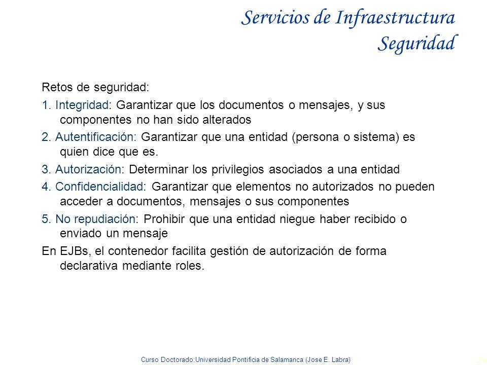 Curso Doctorado:Universidad Pontificia de Salamanca (Jose E. Labra) 29 Servicios de Infraestructura Seguridad Retos de seguridad: 1. Integridad: Garan