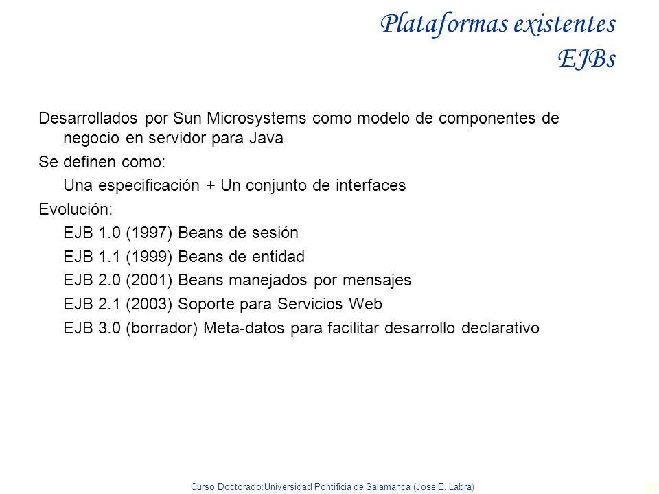 Curso Doctorado:Universidad Pontificia de Salamanca (Jose E. Labra) 31 Plataformas existentes EJBs Desarrollados por Sun Microsystems como modelo de c