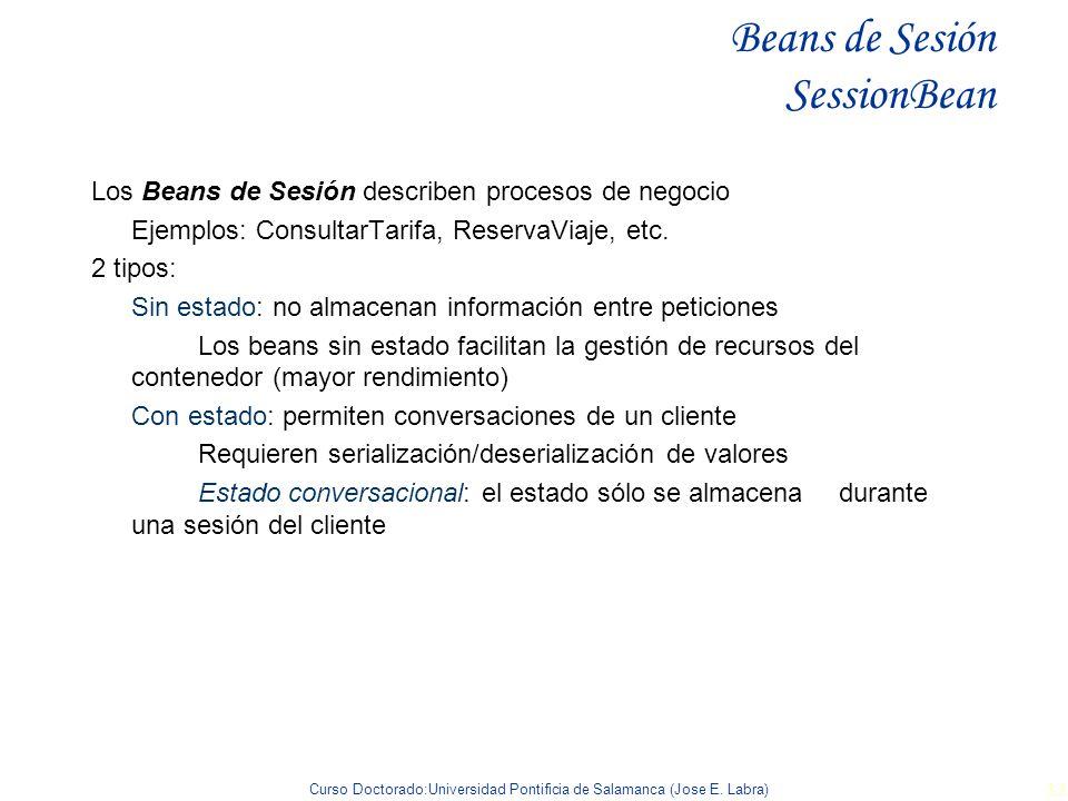 Curso Doctorado:Universidad Pontificia de Salamanca (Jose E. Labra) 33 Beans de Sesión SessionBean Los Beans de Sesión describen procesos de negocio E