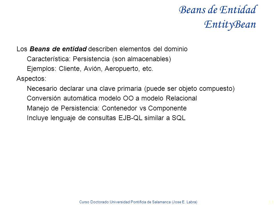 Curso Doctorado:Universidad Pontificia de Salamanca (Jose E. Labra) 34 Beans de Entidad EntityBean Los Beans de entidad describen elementos del domini