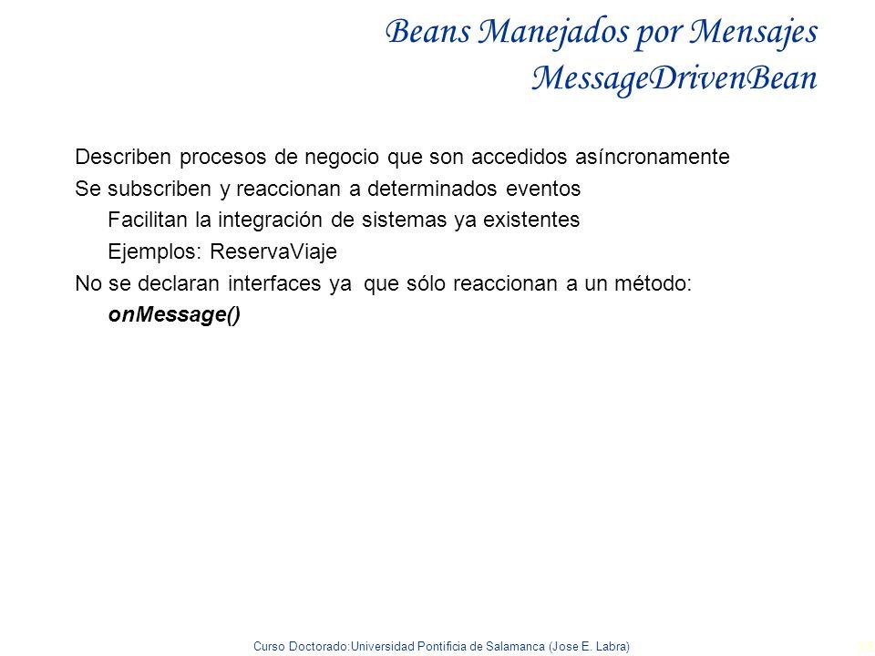 Curso Doctorado:Universidad Pontificia de Salamanca (Jose E. Labra) 35 Beans Manejados por Mensajes MessageDrivenBean Describen procesos de negocio qu