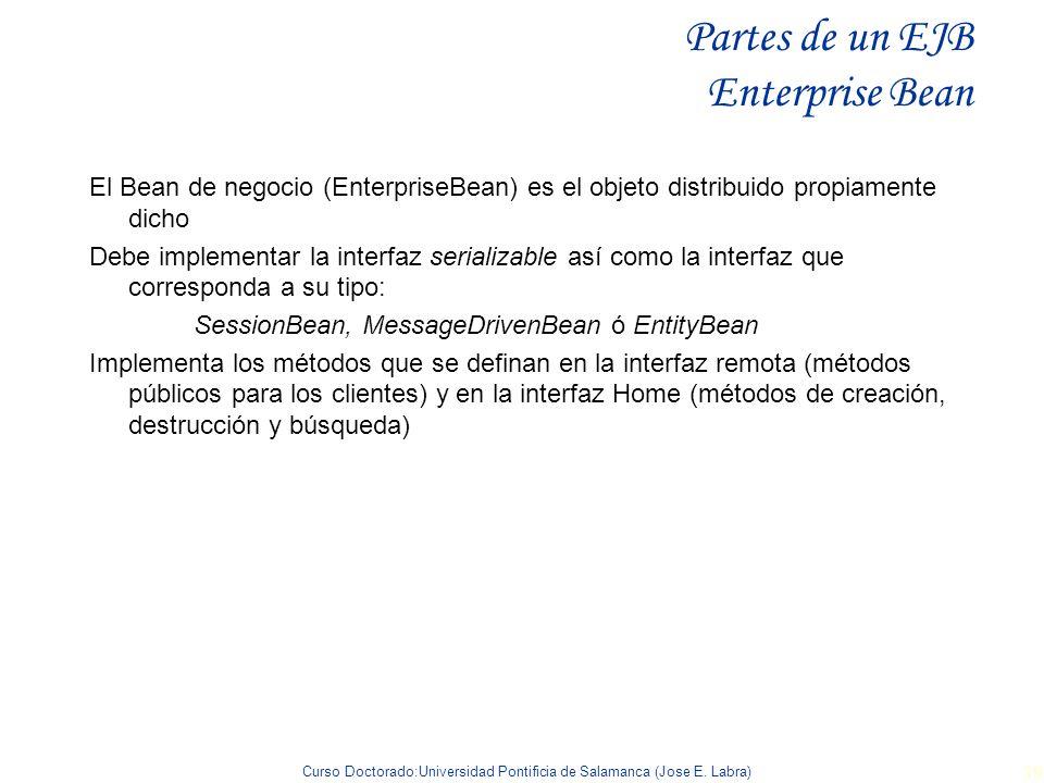 Curso Doctorado:Universidad Pontificia de Salamanca (Jose E. Labra) 39 Partes de un EJB Enterprise Bean El Bean de negocio (EnterpriseBean) es el obje