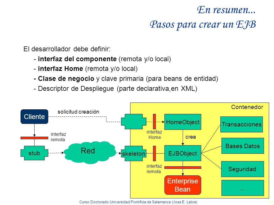 Curso Doctorado:Universidad Pontificia de Salamanca (Jose E. Labra) 46 En resumen... Pasos para crear un EJB El desarrollador debe definir: - interfaz