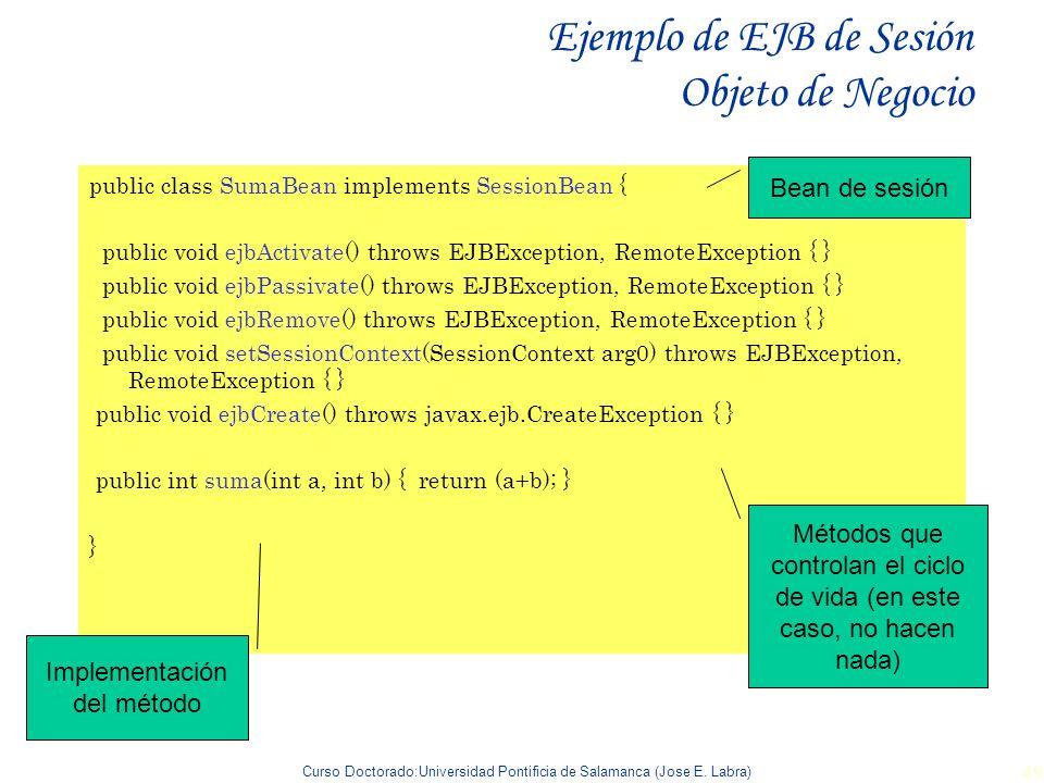 Curso Doctorado:Universidad Pontificia de Salamanca (Jose E. Labra) 49 Ejemplo de EJB de Sesión Objeto de Negocio public class SumaBean implements Ses