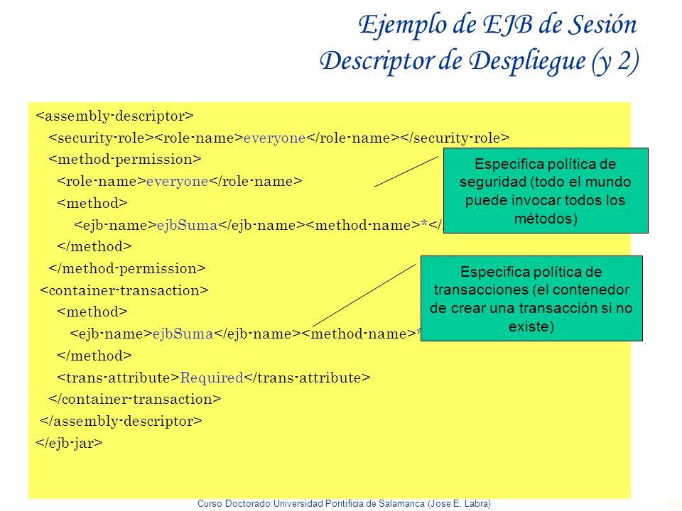 Curso Doctorado:Universidad Pontificia de Salamanca (Jose E. Labra) 51 Ejemplo de EJB de Sesión Descriptor de Despliegue (y 2) everyone everyone ejbSu