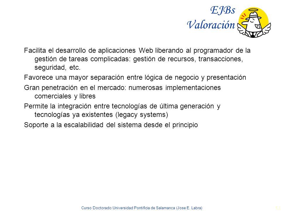 Curso Doctorado:Universidad Pontificia de Salamanca (Jose E. Labra) 53 EJBs Valoración Facilita el desarrollo de aplicaciones Web liberando al program