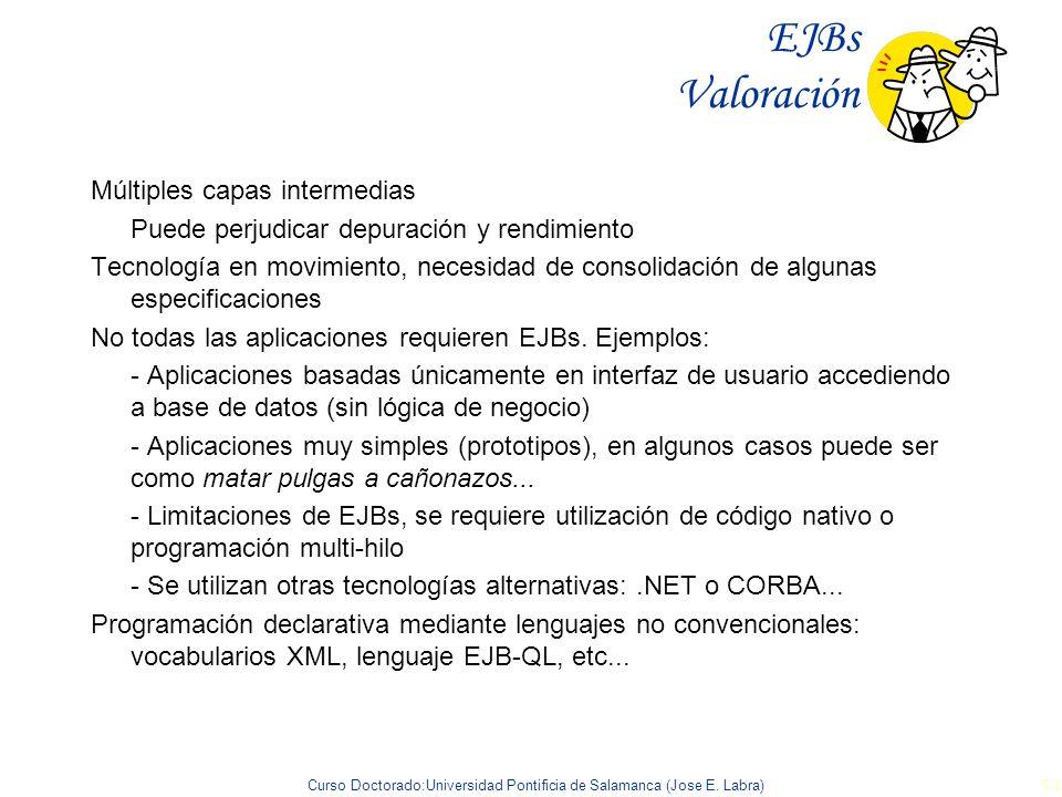 Curso Doctorado:Universidad Pontificia de Salamanca (Jose E. Labra) 54 EJBs Valoración Múltiples capas intermedias Puede perjudicar depuración y rendi