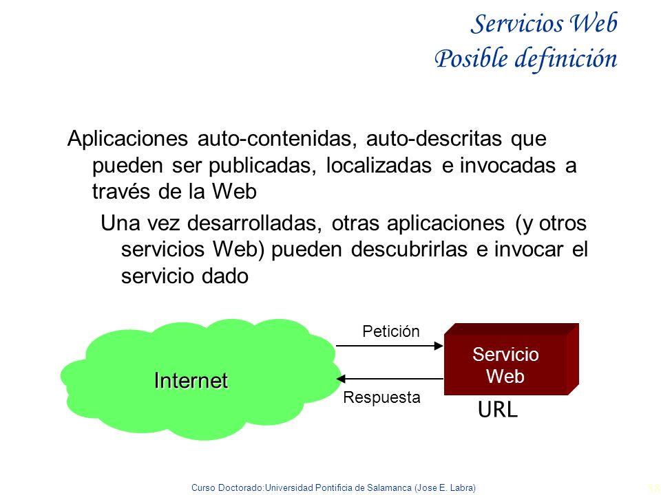 Curso Doctorado:Universidad Pontificia de Salamanca (Jose E. Labra) 58 Servicios Web Posible definición Aplicaciones auto-contenidas, auto-descritas q