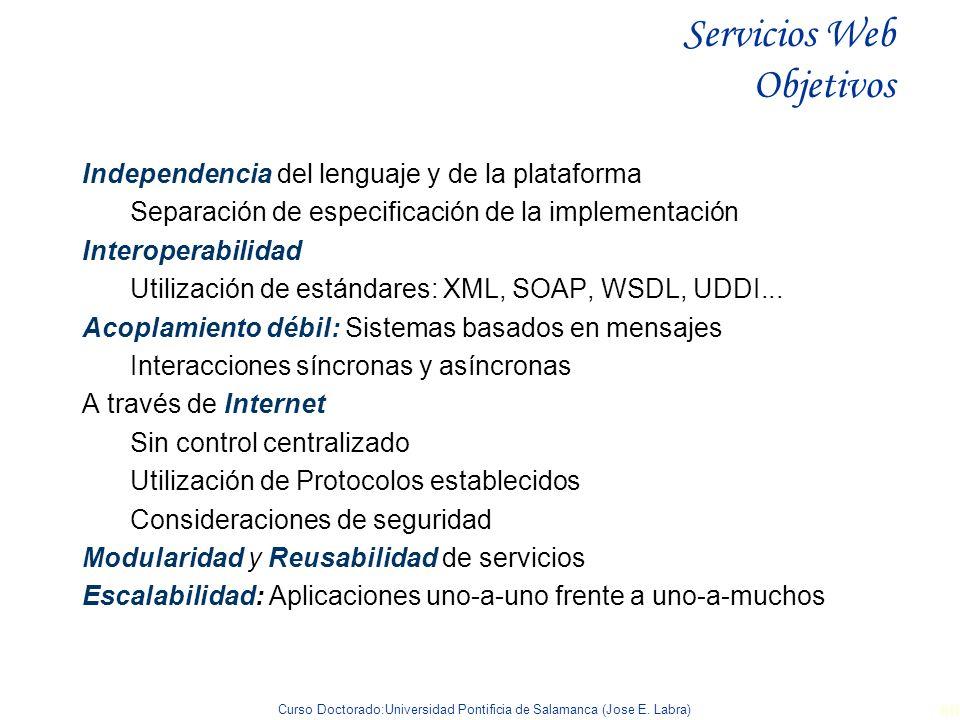 Curso Doctorado:Universidad Pontificia de Salamanca (Jose E. Labra) 60 Servicios Web Objetivos Independencia del lenguaje y de la plataforma Separació