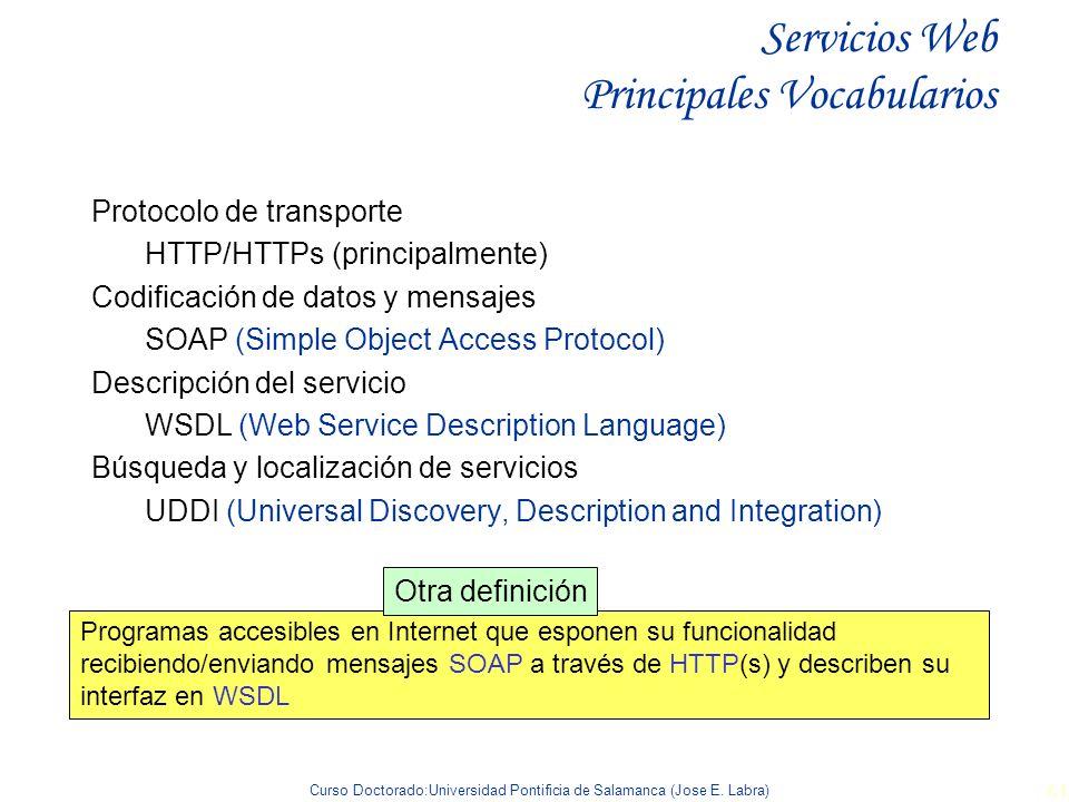 Curso Doctorado:Universidad Pontificia de Salamanca (Jose E. Labra) 61 Servicios Web Principales Vocabularios Protocolo de transporte HTTP/HTTPs (prin
