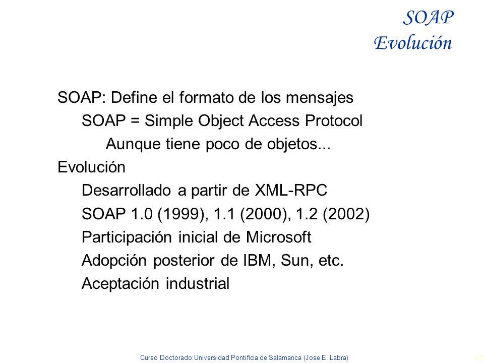 Curso Doctorado:Universidad Pontificia de Salamanca (Jose E. Labra) 65 SOAP: Define el formato de los mensajes SOAP = Simple Object Access Protocol Au