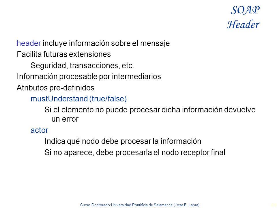 Curso Doctorado:Universidad Pontificia de Salamanca (Jose E. Labra) 69 header incluye información sobre el mensaje Facilita futuras extensiones Seguri