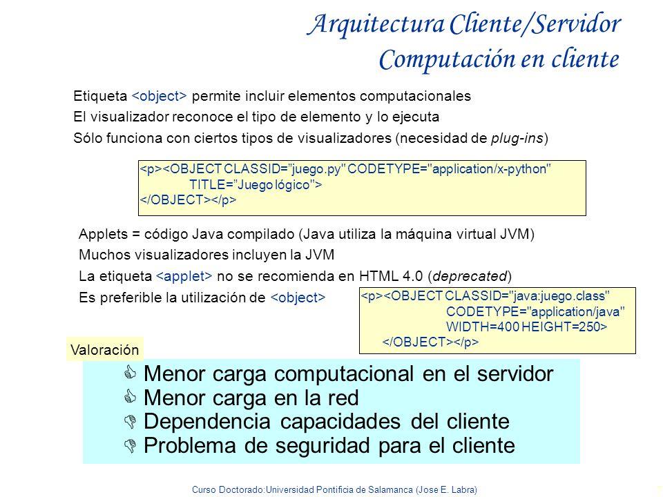 Curso Doctorado:Universidad Pontificia de Salamanca (Jose E. Labra) 7 Arquitectura Cliente/Servidor Computación en cliente Etiqueta permite incluir el