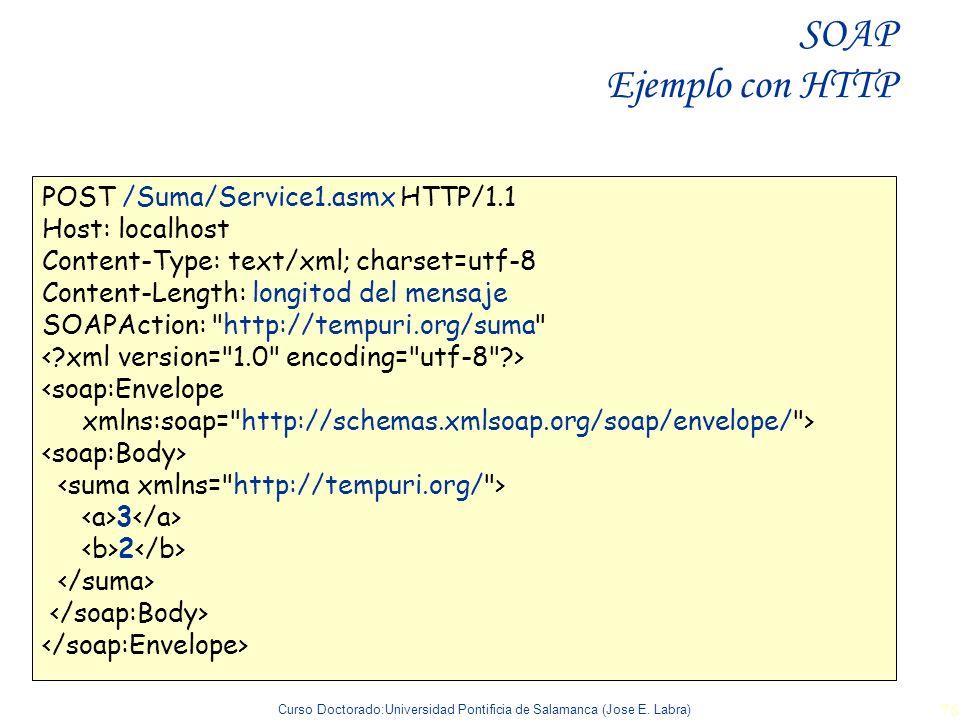 Curso Doctorado:Universidad Pontificia de Salamanca (Jose E. Labra) 76 POST /Suma/Service1.asmx HTTP/1.1 Host: localhost Content-Type: text/xml; chars